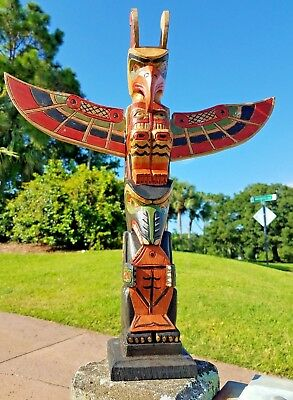 """INTRICATE HANDCARVED WOOD 20"""" x 4"""" TOTEM POLE FISH DESIGN WITH DETACHABLE WINGS"""