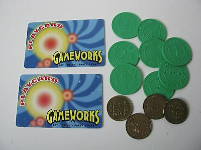 Vtg Old GAME WORKS Eat Play Party Swipe Cards Drink Beer Wine Tokens Lg Lot Set