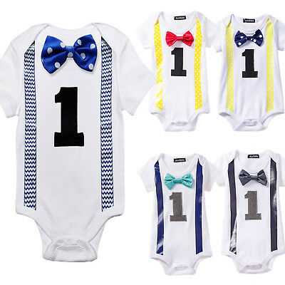 Baby Boys Girls First 1st Birthday Outfits Party Romper Bow Tie Bodysuit Clothes