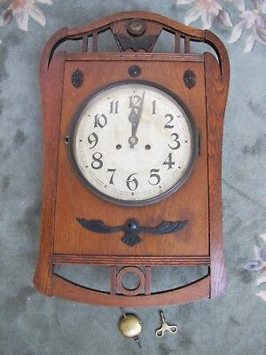 Antique French Wooden Wall Clock.