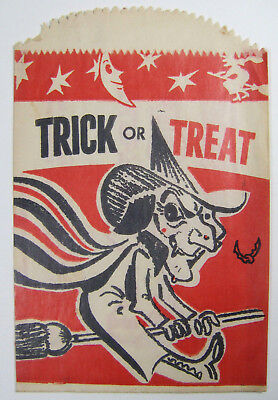Vintage Sixties Halloween Trick or Treat Bag WEIRD Kidney Foundation Ad Witch 60