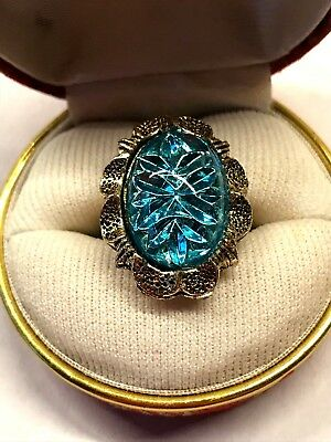 Vintage Aqua Blue Floral Impression Imprint Glass Cabochons Gold Tone Ring