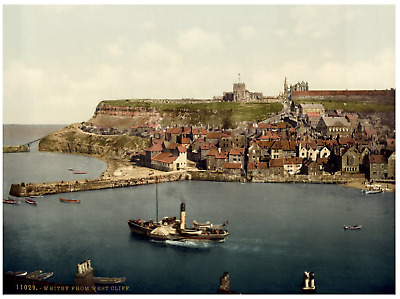 Yorkshire. Whitby, from West Cliff.  PZ vintage photochromie,  photochromie, v