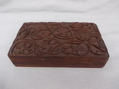 873 / Antique Good Sized Ornate Indian Wooden Box Hand Carved With Foliage