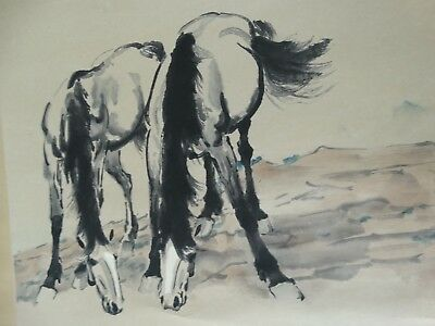 Old Hand Painted Chinese Water Colour of Horses Scroll Hsu Pei-hung Chop