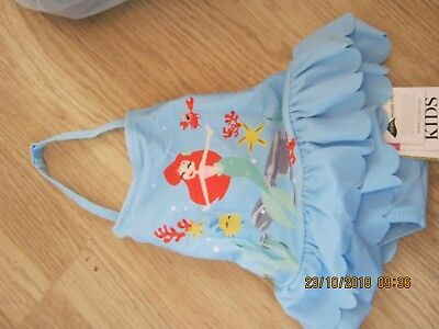 M&S Disney Princess Swimming Costume Blue Mix UPF 50+ Age 3-6 Months