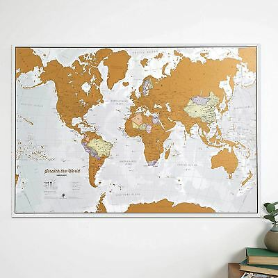 Extra Large World Scratch Map Fun & Colourful Scratch Poster Perfect Gift