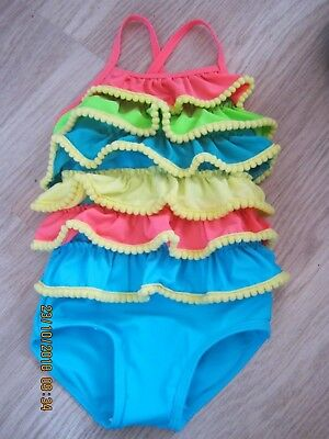 BABY Girls cute Frilly Multi colored Swimming Costume M&S 12-18 months UPF 50+