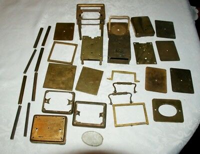 Large Collection Of Mixed Antique Brass Carriage Clock Parts, Spares/Repair