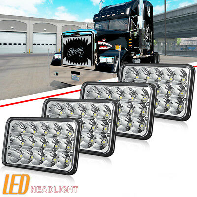 "4pcs 4X6"" DOT LED CREE LIGHT BULB CRYSTAL CLEAR SEALED BEAM HEADLAMP HEADLIGHT"