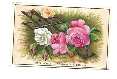 Keep Easter in thy Heart w Holy Joy Pink White Flowers Embossed Vict Card c1880s