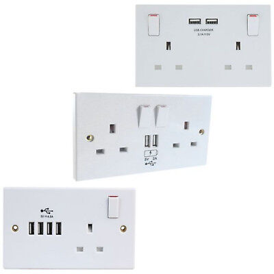 13 Amp Twin Socket Usb Charger White Plastic Single Dual And Quad 2.4A 3.1A