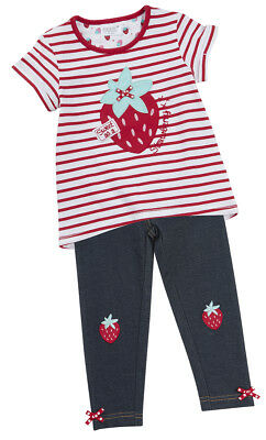 Girls Outfit Two Piece Leggings T shirt Set Strawberry Stripey Top Navy leggings