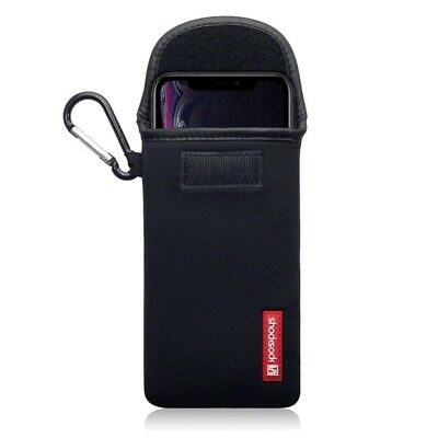 Apple iPhone XR Shocksock Neoprene Soft Pouch Case with Carabiner in Black