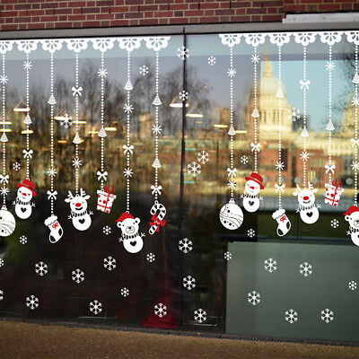 Christmas Snowflake Snowman Glass Window Wall Stickers Decorative Decor Ornament