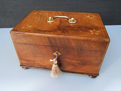 Terrific Georgian Flame Mahogany Antique Document/jewellery Box  Fab Interior
