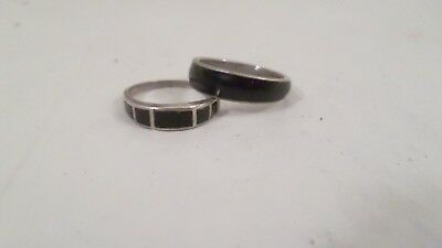 2 Vintage Silver Black Stone Black Fill Band Rings 8 & 8 1/2