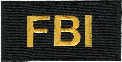 """2"""" x 4"""" Tactical Black FBI F.B.I. Embroidered Iron on Sew On Patch"""