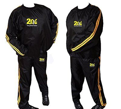 Heavy Duty 2fit Gold Sweat Sauna Suit Exercise Gym Fitness Jogging Track Suit Ru