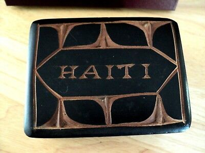 Vintage Hand Carved Hand Made Wooden Trinket Box from Haiti