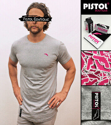 """Pistol Boutique Grey /""""Blank/"""" Fixed Rolled sleeve crew neck mens t-shirt logo"""