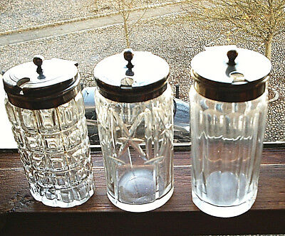 3 Handsome Vintage Glass Mustard Pots with Silver Plate Hinged Lids