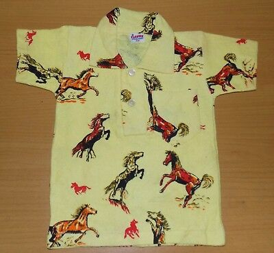 VINTAGE 1970's UNWORN BOYS YELLOW HORSE PRINTED POLO T-SHIRT AGE 2 YEARS