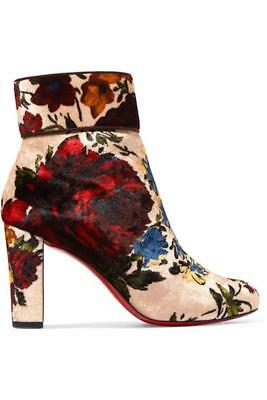 d14541e8fb9c Christian Louboutin Moulamax Floral Velvet Red Sole Ankle boots Bootie  36.5 37