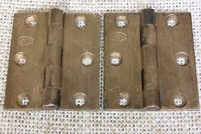 "2 interior shutter door Hinges 1880's vintage old 2 x 1 3/4"" cast bronze signed"