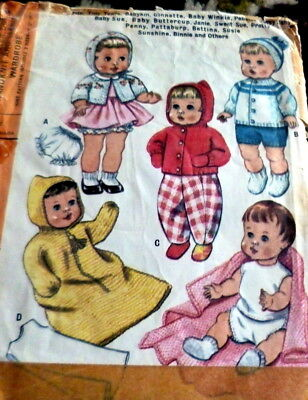 """GREAT VTG 1960s 9""""-12""""-17"""" DOLL CLOTHING SEWING PATTERN"""