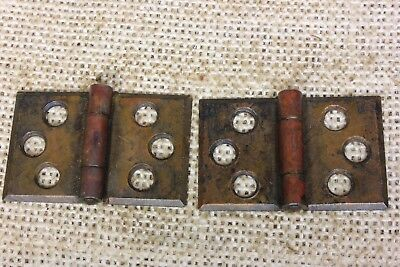 2 door interior shutter Hinges old vintage rustic dark brass color 1 3/4 x 1 1/8