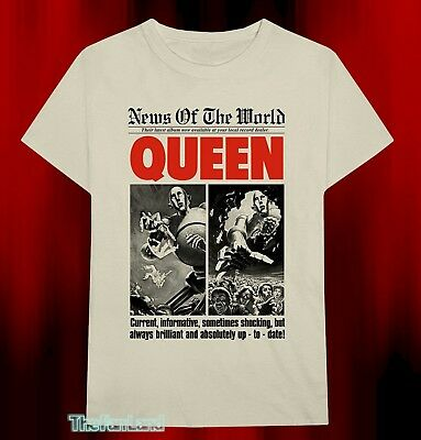 New Queen Logo News of the World 1977 Mens Vintage T-Shirt