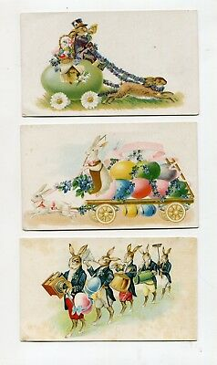 Vintage EASTER Blank Cards RABBITS EGGS MARCHING BAND anthropomorphic