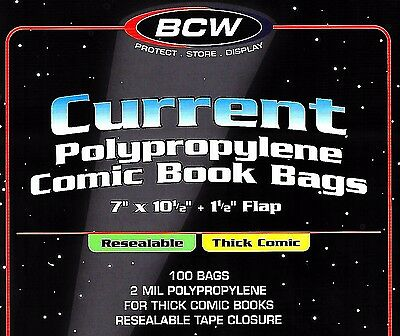 100 BCW Current Resealable Thick Bags and Boards Archival Comic Book Storage