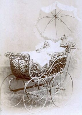 ANTIQUE CABINET CARD PHOTO BABY w PACIFIER or BOTTLE in WICKER PRAM CARRIAGE