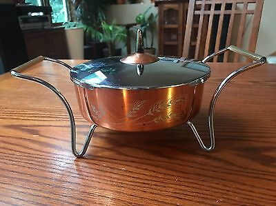 Vintage Copper Plated Covered Oval Dish Brass Handles Mid Century Gorgeous
