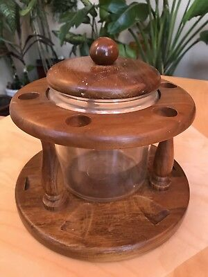 Vintage 10 Pipe Holder Stand & Glass Humidor W/ lid Nice Condition Rare Tobacco