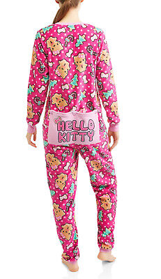 Hello Kitty Pajamas Womens 2X One Piece Drop Seat Back Flap Union Suit NEW  NWT 536f28dda