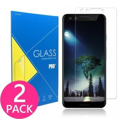 2X Google Pixel 3 Flat Surface Premium Clear Tempered Glass Screen Protector