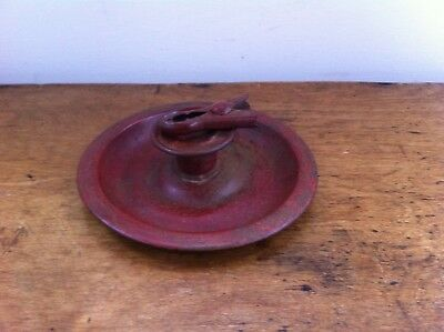 DECORATIVE ANTIQUE RED PAINTED TIN WARE CHAMBERSTICK  5.8 inches