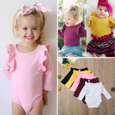 UK Newborn Baby Girl Long Sleeve Ruffle Cotton Romper Jumpsuit Outfits Clothes