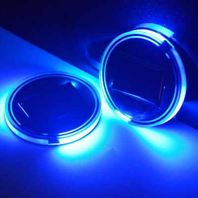 2pc Universal Solar Cup Holder Bottom Pad  LED Light Cover Trim Atmosphere Lamp