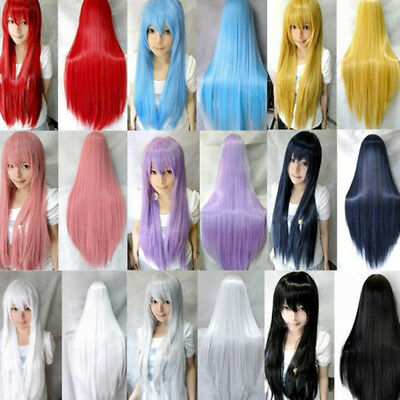 UK Long 80cm Straight Cosplay Party Women Anime Hair Full Wig 11 Colors Fashion