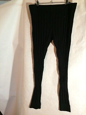 Black Woven-Look Leggings, Now, Size 16