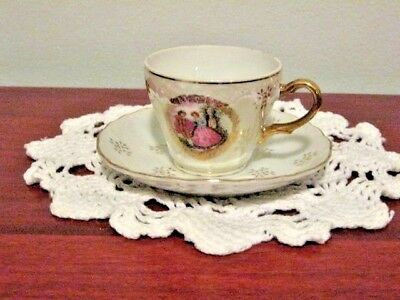 Vintage Lusterware Demitasse Cup and Saucer Colonial Couple Gold Trim Japan