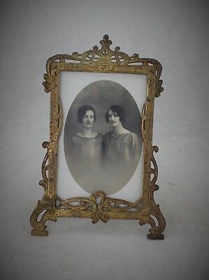 Antique French Photograph Frame Gilt Metal Ormolu With Easel Back + Glass Front