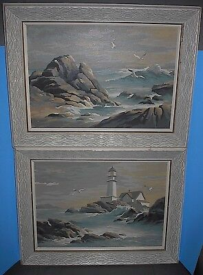 """Vintage Paint By Number Painting Pair Lighthouse & Seagulls Framed 13"""" X 17"""""""