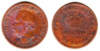 Portuguese India 1/4 Tanga 1884 Copper KM# 308
