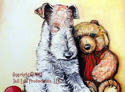 "Wire Fox Terrier ""Nap Time""  11x14 Print  by Cherry O'Neill  WFT and Teddy"