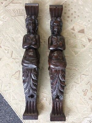 A Pair Of Victorian Oak Carved Pilasters Figures
